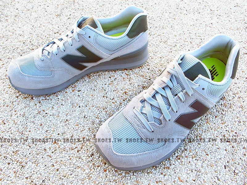 《下殺5折》Shoestw【ML574UWA】NEW BALANCE 574 復古慢跑鞋 灰色 麂皮 反光 男生 1