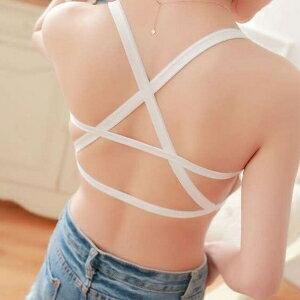 美麗大街【C806】 歐美性感吊帶內搭 露背後背交叉(有胸墊)