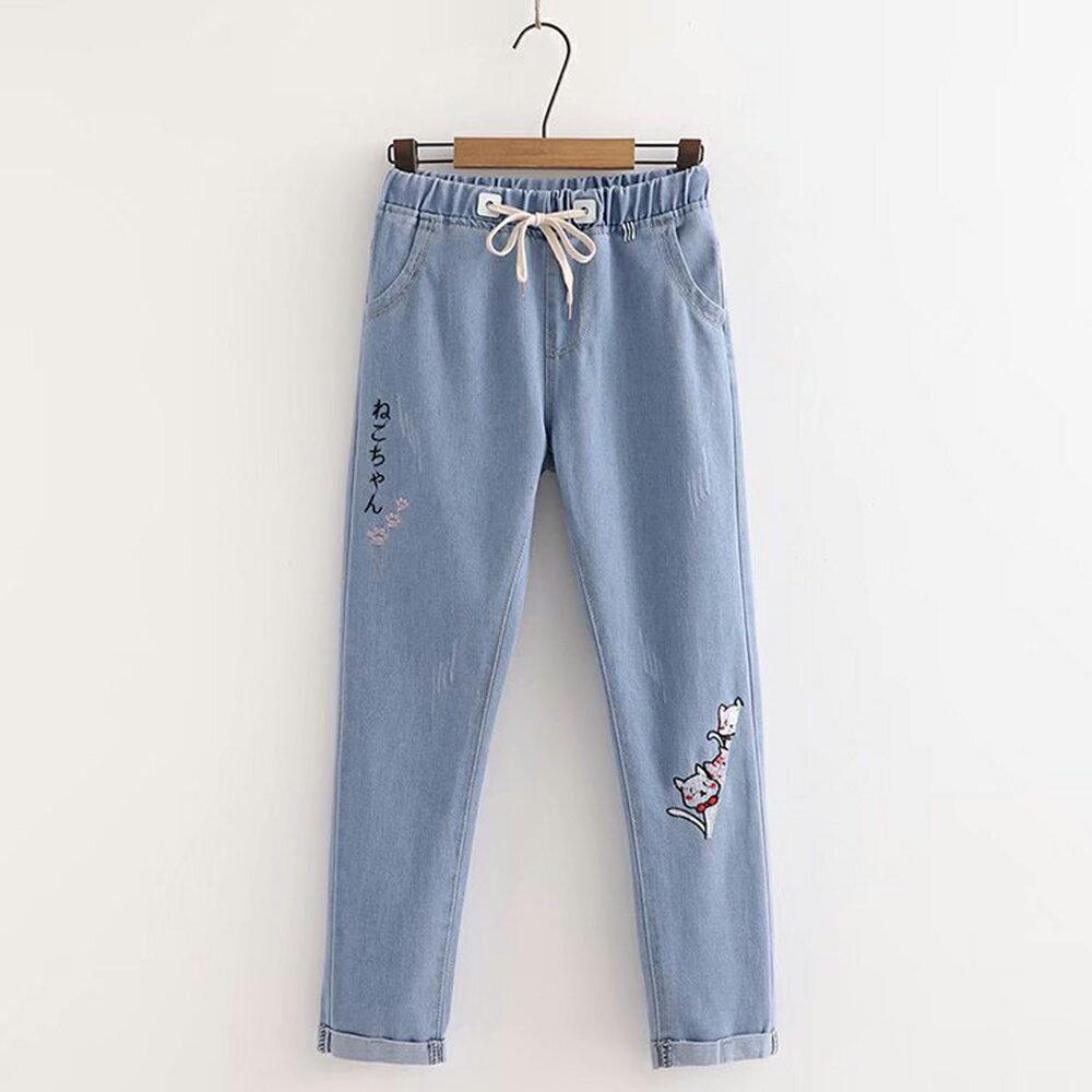 日系森女抓痕做舊三隻貓刺繡繫帶牛仔褲(藍色M~3XL)*ORead* - 限時優惠好康折扣