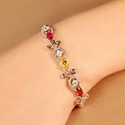 925純銀手鍊 水晶手環 ~ 優雅閃耀母親節生日情人節 女飾品3色73fg20~ ~~米蘭