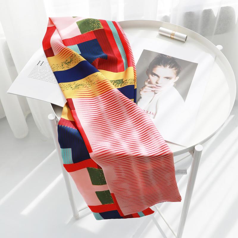 小絲巾女士春秋季百搭長條方巾韓國領巾細窄圍巾冬季紗巾領帶裝飾1入