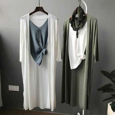 韓系日系女裝冰絲針織衫中長款開衫薄款防曬衣外套樂天時尚館。預購。[全店免運]