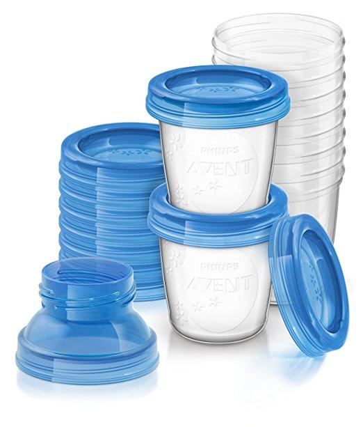 【淘氣寶寶】英國原廠 AVENT VIA 新安怡-薇亞多功能儲存杯/母乳儲存瓶「180ml*10個+杯蓋*10個+轉換蓋*2」