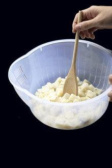 POLYWISE BI-5890 29公分透明洗米籃、淘米器、蔬果籃、洗菜籃、洗米盆、洗菜盆