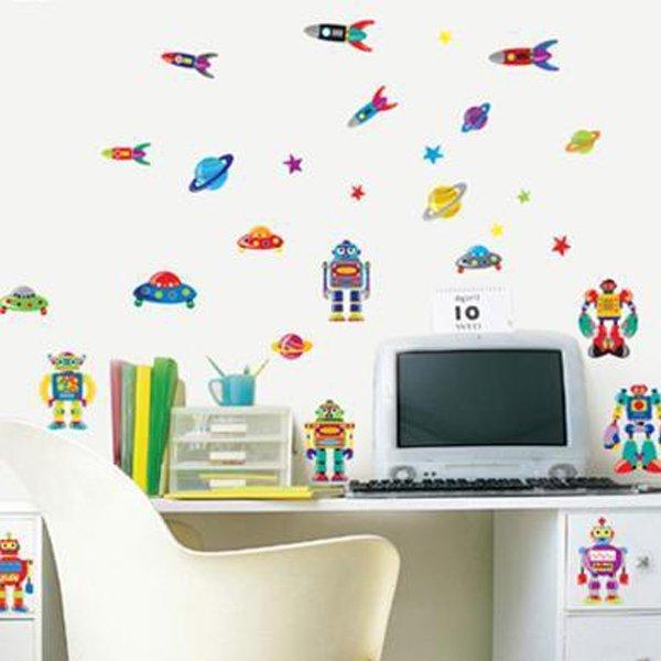 BO雜貨【YV0622】DIY時尚裝飾組合可移動壁貼 牆貼 壁貼 創意壁貼 卡通機器人 AY7023