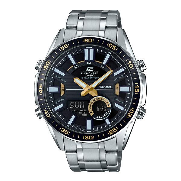 CASIO卡西歐EDIFICEEFV-C100D-1B雙顯計時碼錶動感腕錶銀