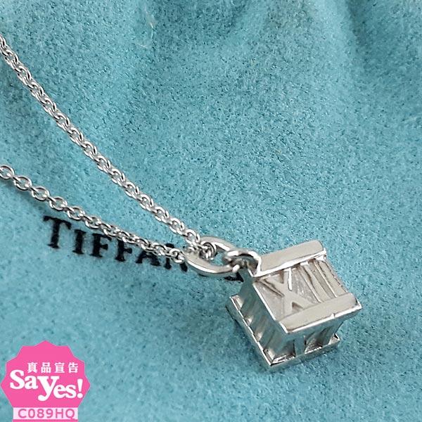 【奢華時尚】TIFFANY 羅馬刻字立體方形墜飾925純銀項鍊(八八成新)#20847