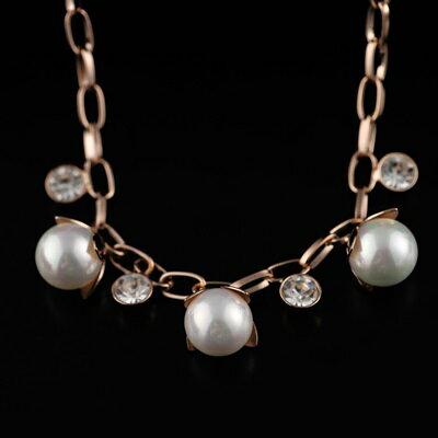 ~純銀項鍊 鍍18K金珍珠吊墜~華麗閃亮好搭七夕情人節 女飾品73dn75~ ~~米蘭 ~