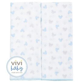 ViViBaby - Disney迪士尼超柔紗布澡巾2入 (藍) 0