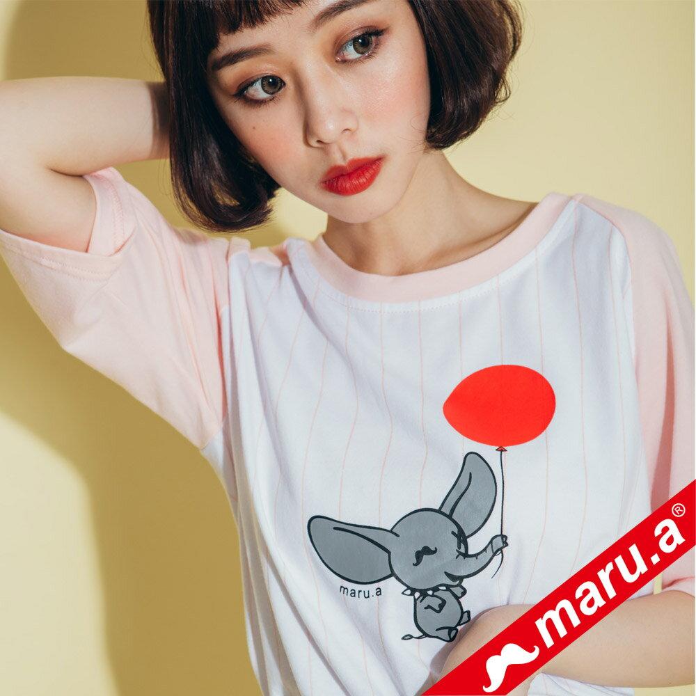 【maru.a】氣球小飛象直條紋棒球T-Shirt  8311217 4