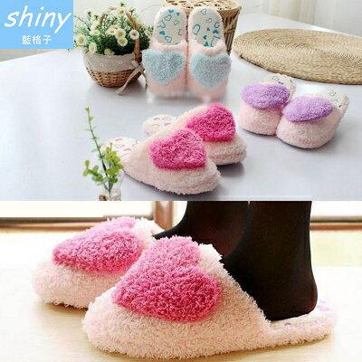 【X009】shiny藍格子-可愛搭品.秋冬季居家室內保暖絨面軟底愛心棉拖鞋