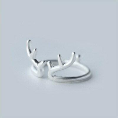 925純銀戒指開口戒~精美優雅麋鹿 七夕情人節 女飾品73dt587~ ~~米蘭 ~