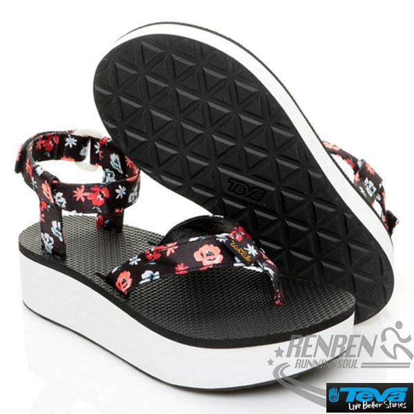 TEVA女厚底運動涼鞋FlatformSandal(黑*橘花)透氣水性耐磨抗菌穿出戶外時尚感