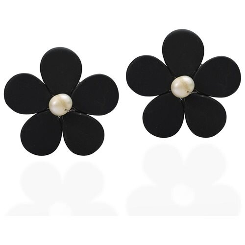 Adorable Daisy Black Onyx&Pearl Flower Clip On Earrings 0