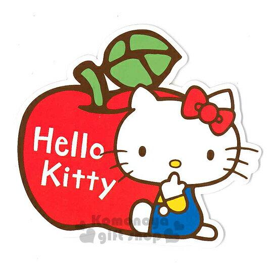〔小禮堂〕Hello Kitty 造型硬式萬用卡片《紅.蘋果.坐姿》附信封