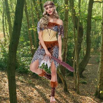 萬聖節服裝角色扮演印第安人野人豹紋土著人表演服裝製服haloween