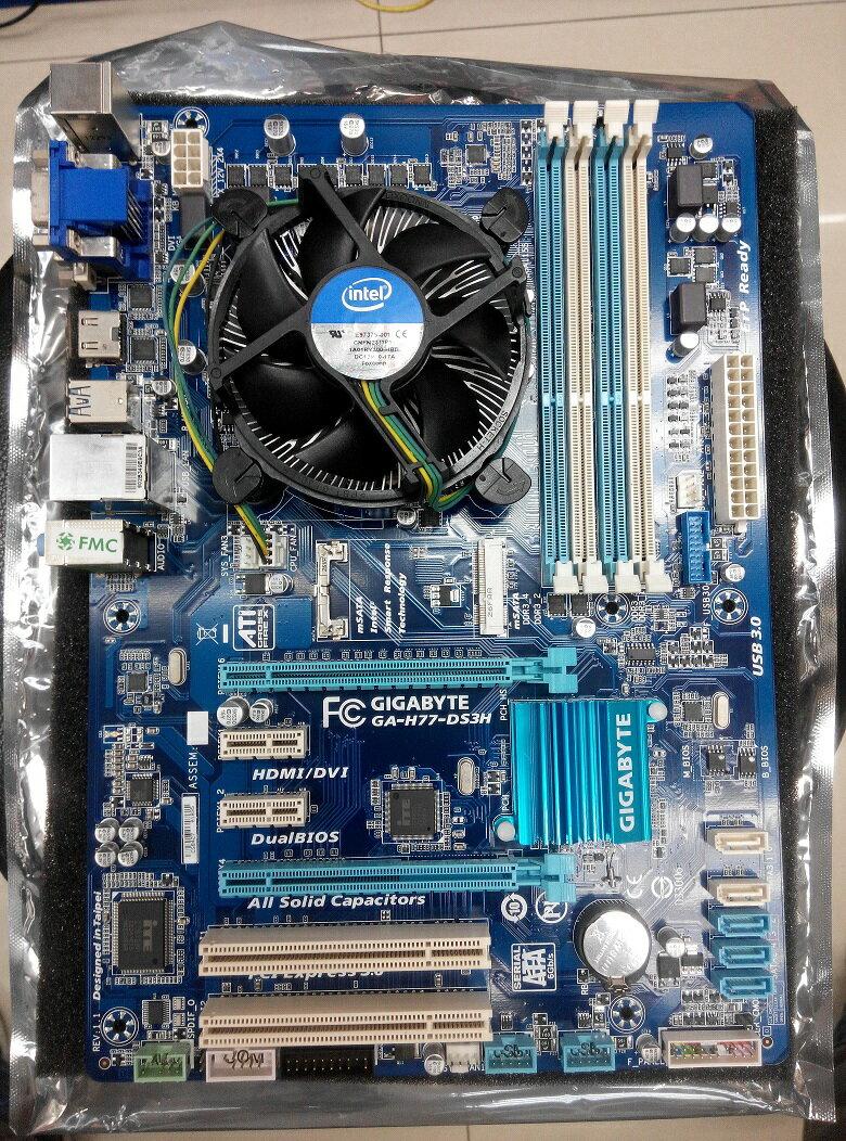 技嘉 中古主機板 H77-DS3H 含 INTEL CPU i3-3220 + 4G-1333 記憶體