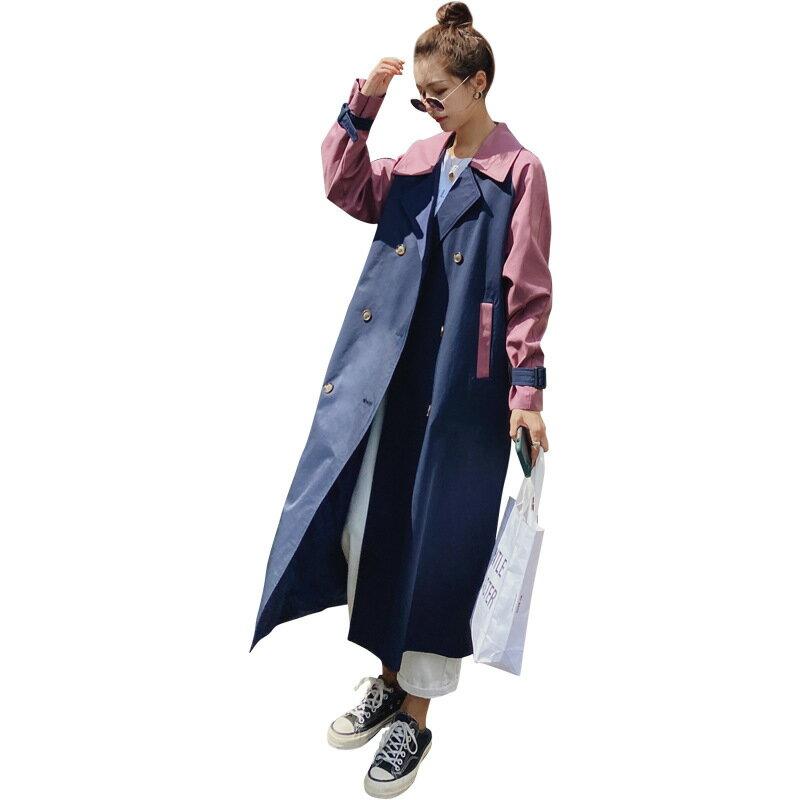 風衣大衣長款外套-拼色寬鬆休閒雙排扣女外套73yt34【獨家進口】【米蘭精品】