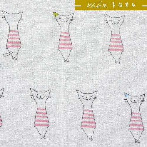 粉紅貓咪紗布長巾