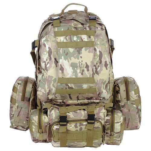 Outdoor Sport Hiking Camping Backpack Large 600D Oxford Trekking Bag W/ Adjustable Chest Belt CP Camouflage 1