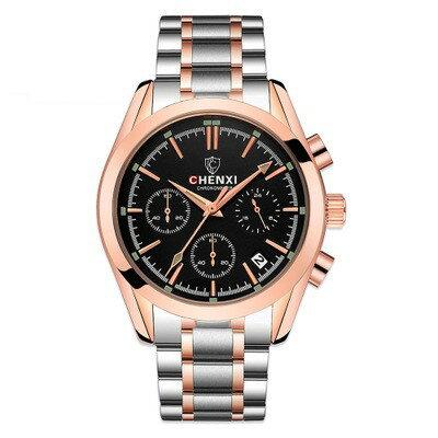 美琪 (簡約時尚)多功能手錶實心鋼帶男腕錶방수防水夜光캘린더日曆石英錶