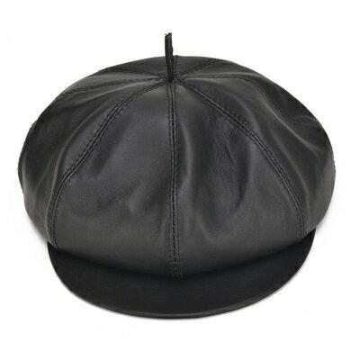 鴨舌帽真皮貝雷帽-短簷八角純色羊皮男帽子73rq16【獨家進口】【米蘭精品】
