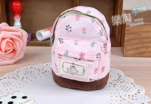 <br/><br/> 可愛碎花小清新背包帆布零錢包-粉色<br/><br/>