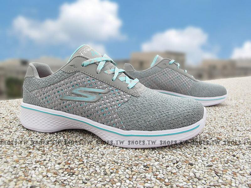 《下殺5折》Shoestw【81117LGYTQ】SKECHERS GO WALK 4 中童鞋 運動鞋 瑜珈鞋墊 淺灰水藍 綁帶