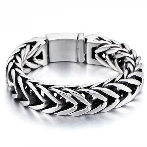 《QBOX》FASHION飾品【B100KB79016】精緻高檔個性粗曠V行環扣鑄造鈦鋼手鍊手環