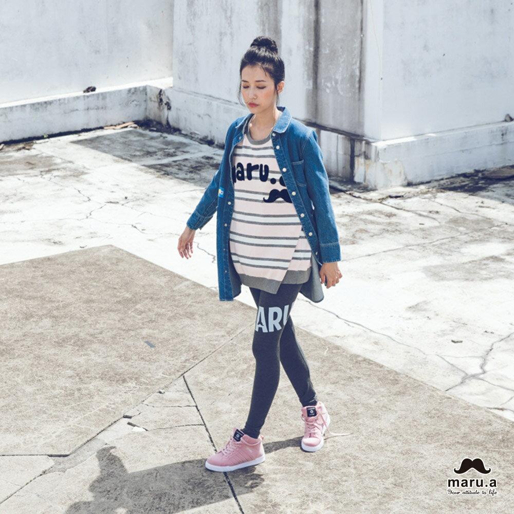 【mini maru.a】童裝親子裝彩色方塊印花長版牛仔襯衫(2色)7953211 3