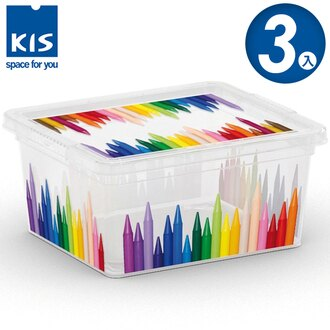 E&J【012001-05】義大利 KIS C BOX 畫筆系列收納箱 XXS 3入;無印風/收納箱/收納盒/玩具收納