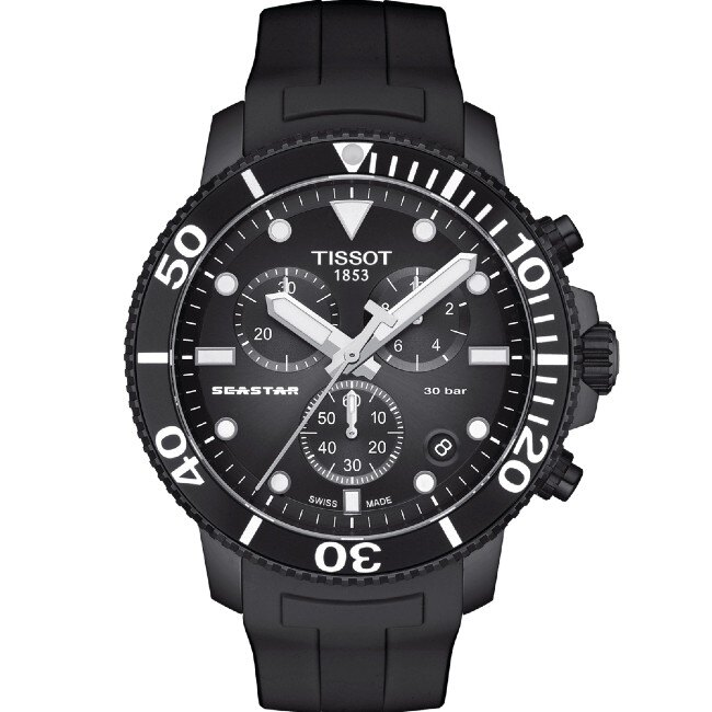 TISSOT 天梭表 T1204173705102 SEASTAR 1000 CHRONOGRAPH 海洋之星潛水機械腕錶 / 黑 45.5mm 0