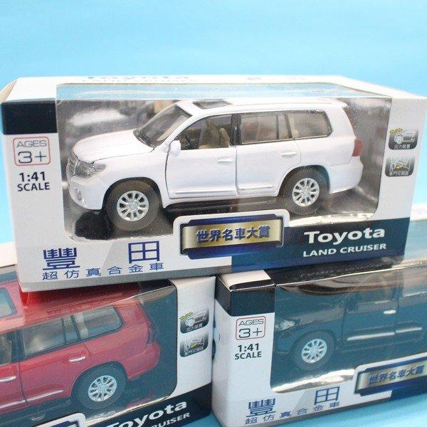 TOYOTA 豐田 LAND CRUISER 合金車 (2號白盒)/一台入{促199} 1:41 模型車 迴力車 生TOP401