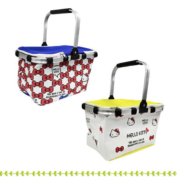 凱蒂貓藍黃二色蝴蝶結野餐提籃野餐郊遊露營戶外保冷收納提籃兩款隨機出貨010003