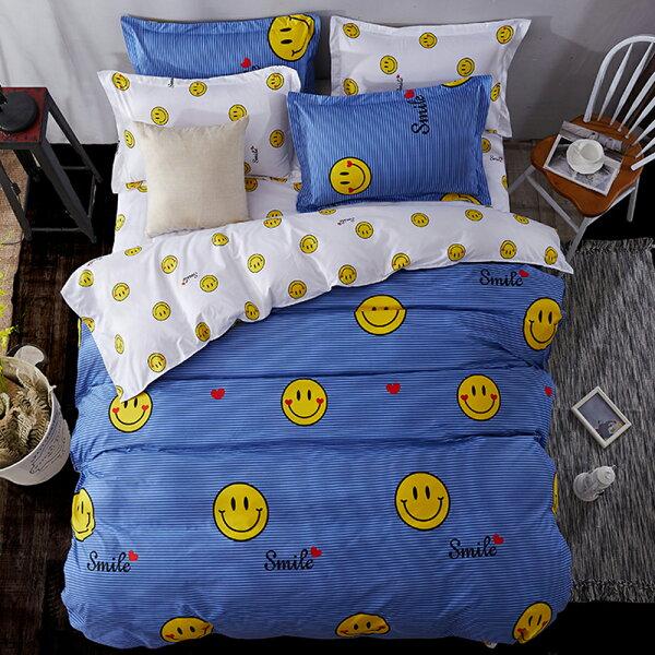 哇哇購:哇哇購個性印花三件式涼被床包組單人微笑達人