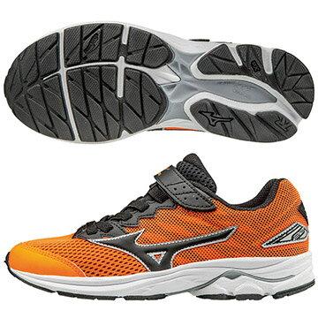 K1GC173109(橘X黑)WAVE RIDER 20 Jr.V 黏貼帶式童鞋 S【美津濃MIZUNO】