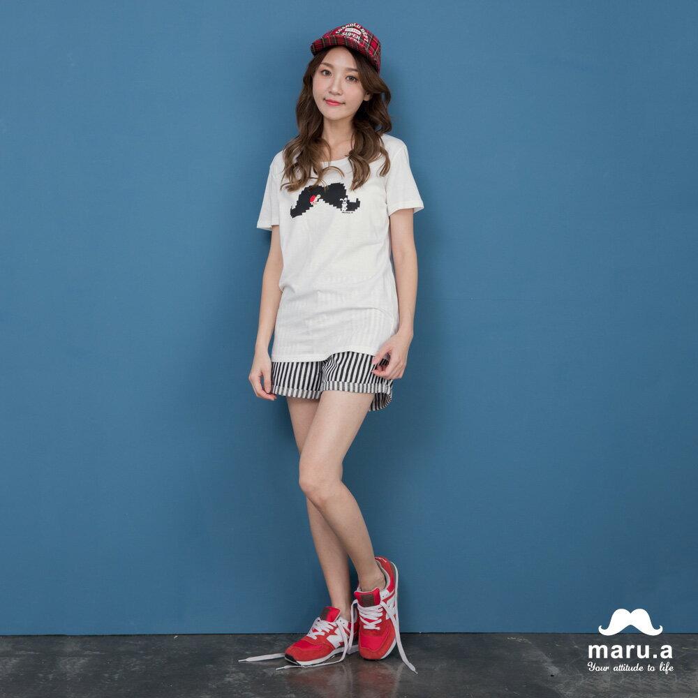 【maru.a】彩色方塊刺繡直條紋短褲(2色)7925112 5