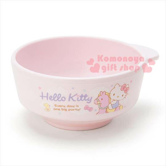 〔小禮堂〕Hello KItty 日製單耳塑膠小碗《粉.騎木馬.星星.玩具》
