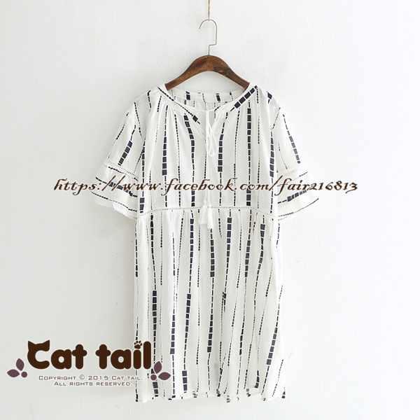 《貓尾巴》LZ-03271休閒V領方塊印花短袖連身裙(森林系日系棉麻文青清新)