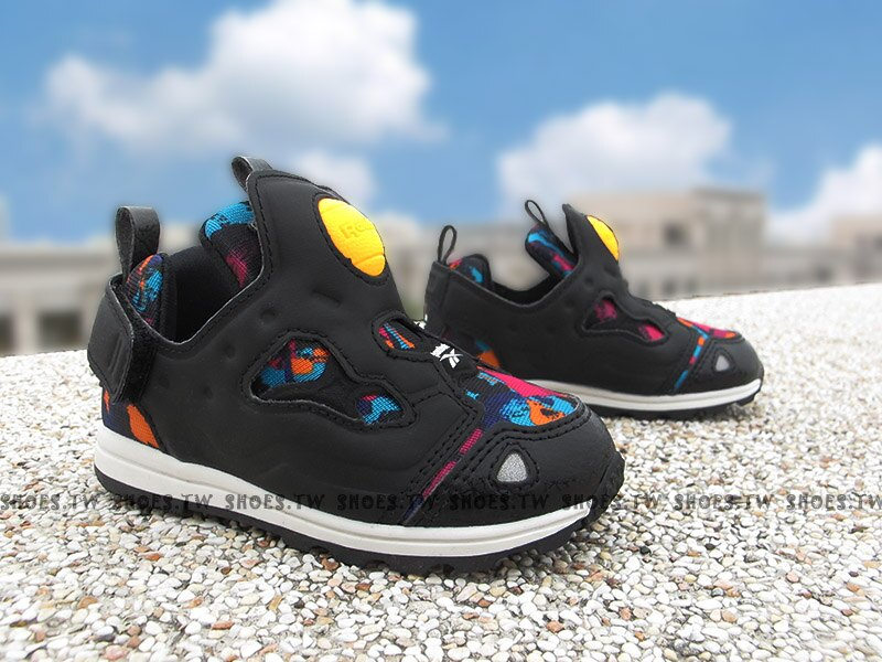 Shoestw【BD4471】Reebok Pump Fury 小童鞋 黑彩 襪套 黏帶 小童 學步鞋