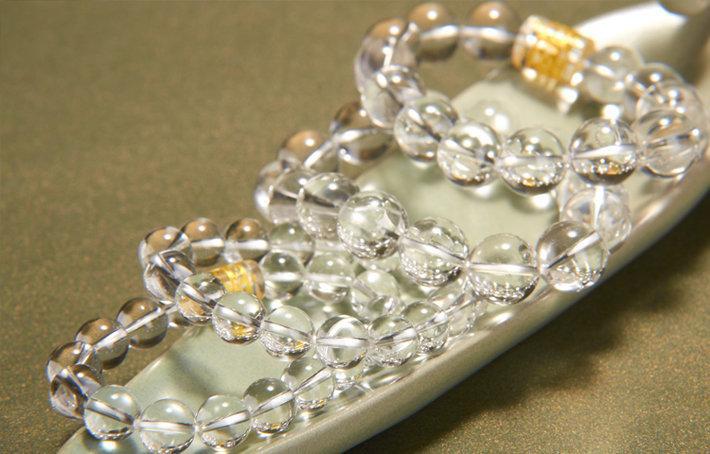 開光白水晶手鏈 六字真言水晶轉運佛珠手串
