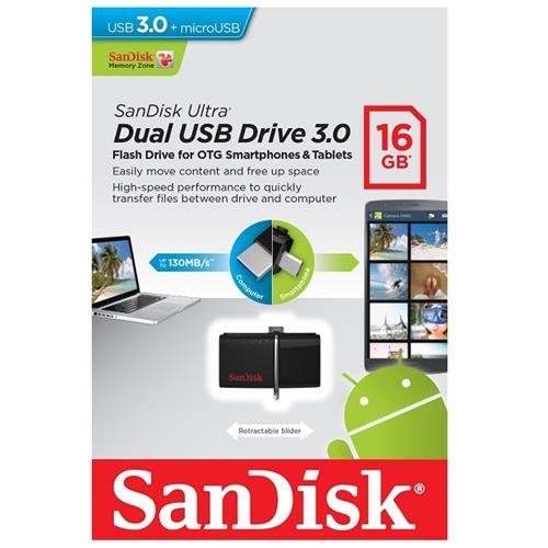 SanDisk 16GB USB 3.0 to microUSB 16G OTG Ultra Dual Flash Drive 130MB/s for Android smartphone tablet SDDD2-016G + OEM USB Lanyard 1