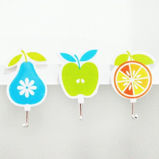 ?MY COLOR?卡通水果造型掛鉤(3入) 廚房 衛浴 懸掛 黏貼 壁掛 裝飾 收納 門背 櫥櫃【L191-3】