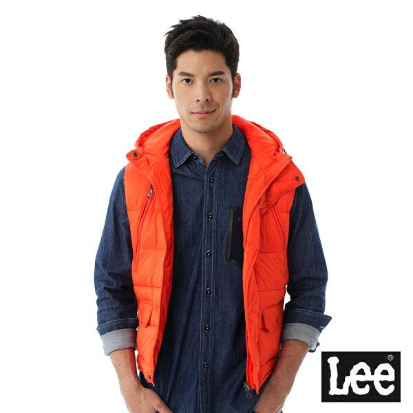 LeeHEAT連帽舖棉背心-男款-橘