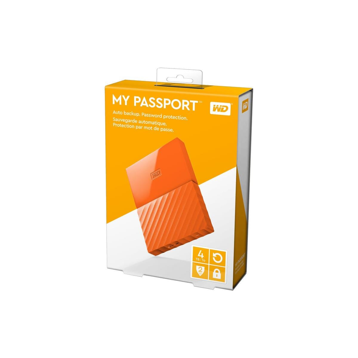 WD My Passport WDBYFT0040BOR-WESN 4 TB External Hard Drive - USB 3.0 - Portable - Orange - 256-bit Encryption Standard 2