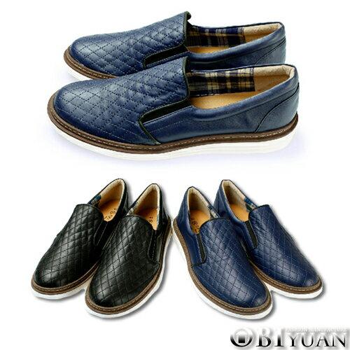 MIT 懶人鞋~QFTP17~OBI YUAN英倫雅痞菱格紋皮革休閒鞋 共2色