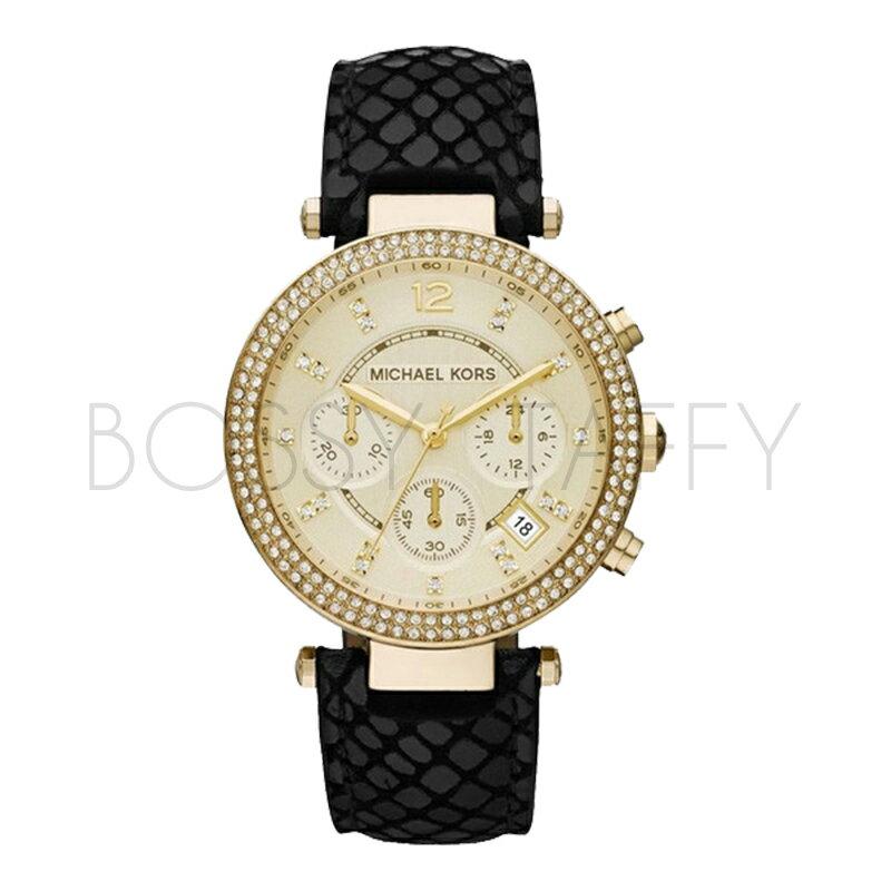 MK2316 MICHAEL KORS 水晶鑲鑽皮革錶帶不鏽鋼錶盤女錶