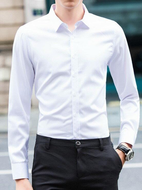 男白襯衫,上班族高品質白襯衫男(長袖 短袖 無紋路 )大尺碼 mcps20
