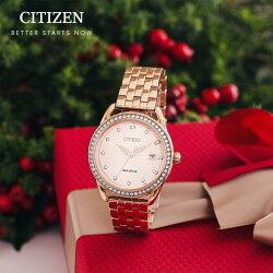 限時特惠 Citizen 星辰 Eco-Drive 光動能 璀璨晶圈玫瑰金時尚腕錶 FE6119-85X 36mm