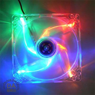《DA量販店》電腦12公分 機殼 風扇 四彩LED 透明 散熱風扇 (23-020)